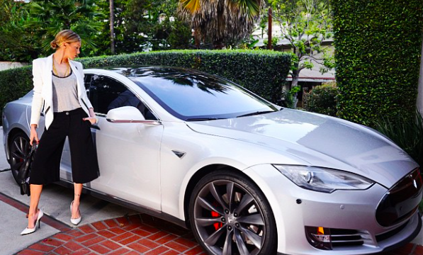 photo of Katie Cassidy Tesla - car